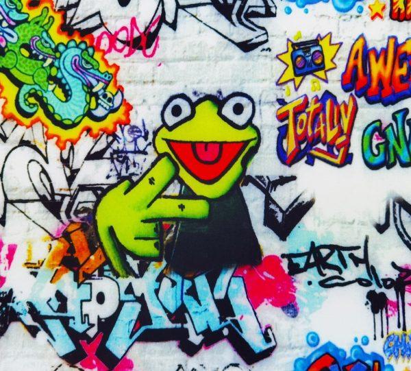 A12_Softshell_Stoff_Stoffe_Kermit_Frosch_Graffiti