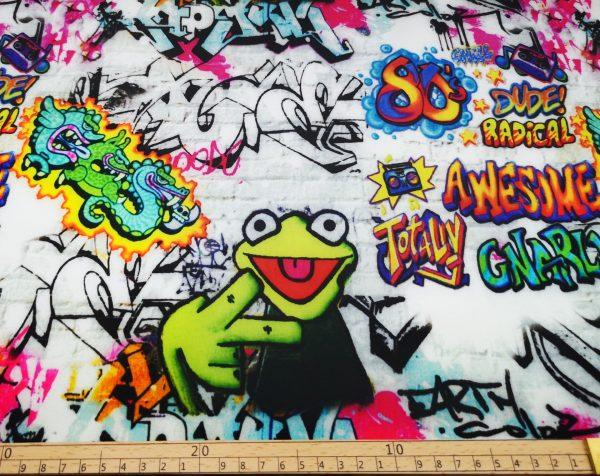 Softshell, Stoff,Stoffe,Kermit,Frosch,graffiti