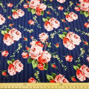 Softshell,Stoff,Stoffe,Blumen,Blümchen,Rosen,blau