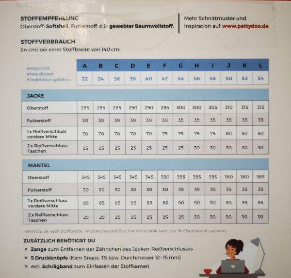 Schnittmuster-pattydoo-susan-Softshelljacke-Tabelle