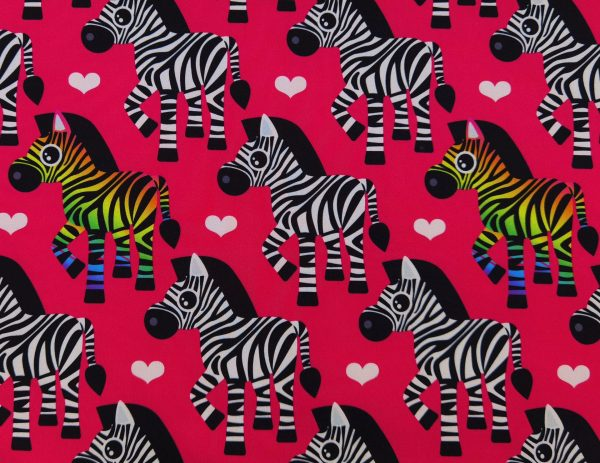 A34_Softshell_Stoff_Stoffe_Stoffpiraten_Zebras_Pferde_EInhoerner_pink