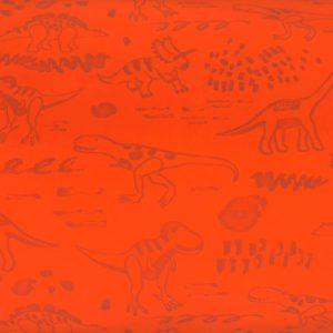 A86_Softshell_Stoff_Stoffe_Stoffpiraten_reflektierend_Neon_Dinos_Dinosaurier_orange