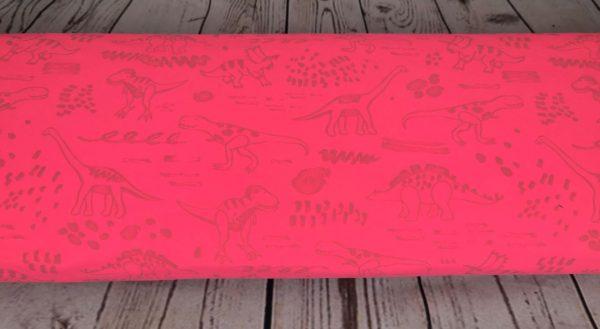 A87_Softshell_Stoff_Stoffe_Stoffpiraten_reflektierend_Neon_Dinos_Dinosaurier_pink