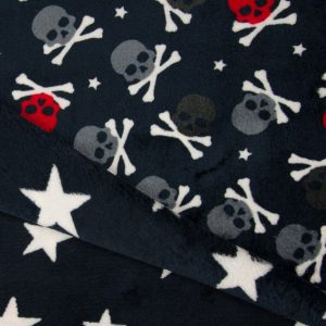 K52_Stoffpiraten_Stoff_Stoffe_Fleece_Doublefleece_Totenköpfe_Skulls_Sterne_navy_blau